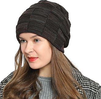 DonDon Womens Warm Winter Beanie Slouch tube design modern knitted beanie with extra soft inner lining - Brown