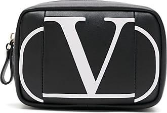 Valentino Garavani Necessaire de couro com logo - Preto