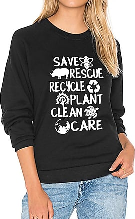 Dresswel Women Save Bees Sweatshirt Turtle Planet Graphic Pullover Long Sleeve Tops Jumpers Blouse Black
