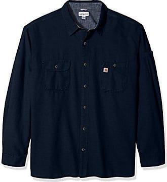 Carhartt Work in Progress Mens Big & Tall Beartooth Solid Long Sleeve Shirt, Navy Heather, 4X-Large