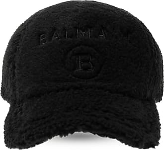Balmain Fur Baseball Cap With Logo Unisex Black