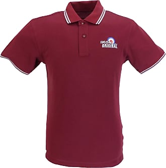 Ikon Original Mens Polo Shirts (XXX Large, Burgundy/Sky)