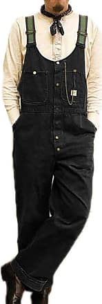 Hellomiko Mens Dad Pants Vintage Bib Overalls Dungarees Jumpsuits Baggy Trousers Black