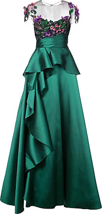 Marchesa floral-appliquéd peplum gown - Green