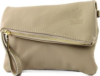 modamoda.de ital leather bag small ladies bag shoulder bag Clutch Wrist Bag leather T95, Colour:Brown beige
