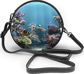Turfed Undersea Creature Print Fashion Round PU Crossbody Handbag Round Shoulder Bag For Women Girls