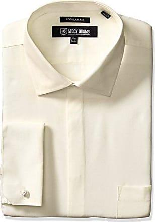 Stacy Adams Mens 39000 Solid Dress Shirt, Ecru, 17.5 Neck 34-35 Sleeve