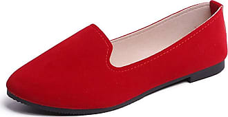 Vdual Ladies Womens Casual Flat Slip on Comfort Walking Summer Pumps Imitation Leather Shoes UK 2.5- UK 8.5 Red