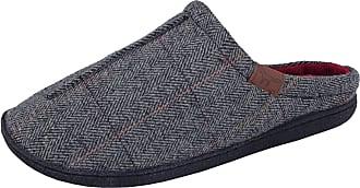 Jo & Joe Mens Harrison Jo & Joe Tweed Faux Fur Lined Slip On Mules Slippers Size 7-12 (UK 10, Grey)