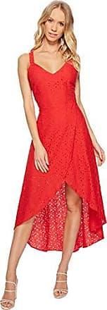 J.O.A. JOA Womens LACE V Neck Sleeveless Tulip Hem Open Back Dress, red, S