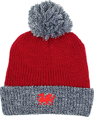 79d30a994eaa66 Teddyts Mens Wales Chunky Knit Thermal Welsh Dragon Winter Bobble Hat (Coch  Red)