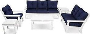 POLYWOOD Vineyard 6-piece Outdoor Deep Seating Set (white/navy)