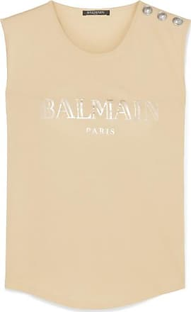 5de3cf79 Balmain Button-embellished Printed Cotton-jersey Tank - Beige