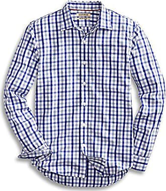 Goodthreads Mens Slim-Fit Long-Sleeve Gingham Plaid Poplin Shirt, Blue/Grey, Large