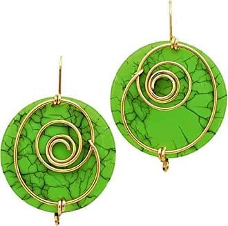 Tinna Jewelry Brinco Dourado Espiral Com Medalha De Resina (Verde)