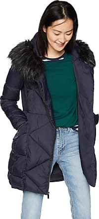 French Connection Womens 3/4 Asymmetrical Oversized Puffer Coat, Utility Blue, x-Large
