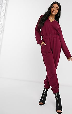 Missguided notch neck jumpsuit in burgundy-Pink