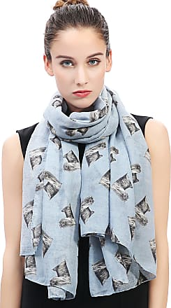 Lina & Lily Yorkshire Terrier Yorkie Dog Print Womens Scarf (Light Blue)