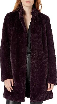 Kenneth Cole Womens 17LMF829 Faux-Fur Coat, Rum Raisin, X-Small
