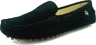 MGM-Joymod Womens Fashion Comfortable Black Suede Moccasins Driving Walking Loafers Flats Slide Boat Shoes 4.5 M UK