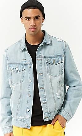 21 Men Distressed Denim Jacket at Forever 21 Medium Denim
