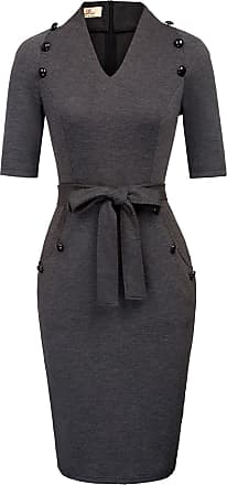 Grace Karin Work Business Dress for Women Slim Fit Midi Bodycon Dress with Buttons Dark Grey