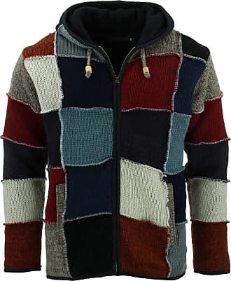 Loud Elephant Wool Knit Patchwork Hooded Jacket - Maroon (XX-Large)