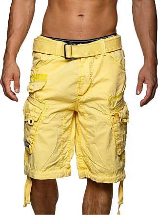 Geographical Norway Mens People Cargo Shorts - Yellow - X-Large