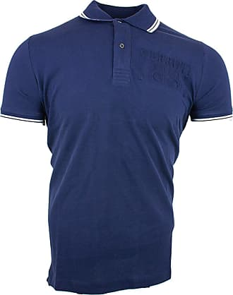 Cerruti 1881 Mens Cotton Polo Shirt with Short Sleeves and Border - Blue - XX-Large