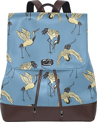 Flyup Womens PU Leather Backpack Cranes Animal Bird Drawstring for Travel Rucksack Daypack Casual Duffel Shoulder Bag