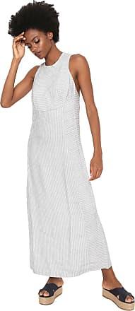 Osklen Vestido Osklen Longo Striped Off-white/Azul