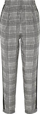 Fleur du Mal Satin-trimmed Prince Of Wales Checked Silk Tapered Pants - Black