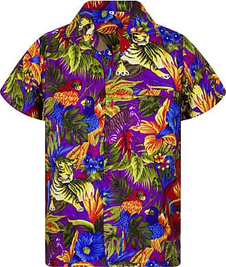 V.H.O. Funky Hawaiian Shirt, Shortsleeve, Jungle, Purple, XXL