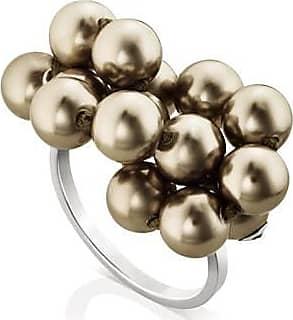 Misaki Bague fine Vision rhodiée avec perles bronze - taille 50