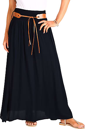 Krisp 4809-BLK-LXL: Tie Belted Boho Maxi Cotton Skirt (Black (4809))