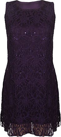 Purple Hanger New Womens Floral Lace Sleeveless Scoop Neckline Ladies Layer Lined Sequin Evening Dress Plus Size Purple Size 20 - 22
