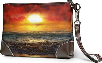 GLGFashion Womens Leather Wristlet Clutch Wallet Sun Sky Sea Yellow Storage Purse With Strap Zipper Pouch