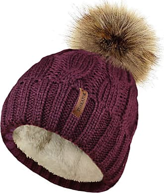 TOSKATOK Ladies Chunky Soft Cable Knit Hat with Cosy Fleece Liner and Detachable Faux Fur Pompom Burgundy