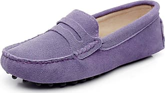 Jamron Womens Classic Suede Penny Loafers Comfort Handmade Slipper Moccasins Purple 24208 UK8