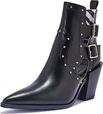 Truffle Vegan Leather Womens Ankle Heel Boots Western Pointed Shoes Boots - Black - UK 5