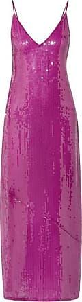 Fleur du Mal Sequined Tulle Midi Dress - Magenta