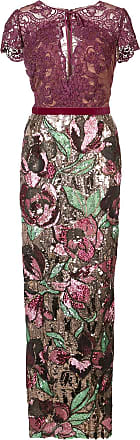 Marchesa sequined lace column gown - Pink