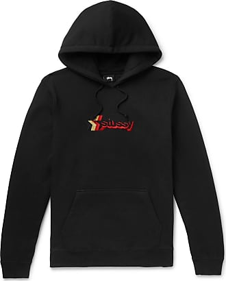 Stüssy Logo-embroidered Fleece-back Cotton-blend Jersey Hoodie - Black