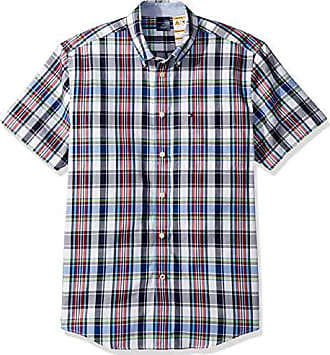 82166feb Tommy Hilfiger Mens Adaptive Magnetic Short Sleeve Button Shirt Custom Fit,  Multi, Small