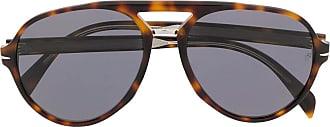 David Beckham Óculos de sol aviador com efeito tartaruga - Marrom