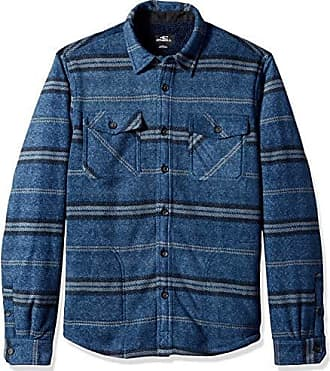 O'Neill Mens Glacier Stretch Button Up Superfleece Sherpa Lined Jacket, sherpa heather navy, M