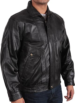 Infinity Merve Mens Black Leather Bomber Jacket Casual Fitted Style S-5XL (2XL)