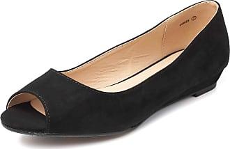 Dream Pairs Dories Womens Peep Toe Ballet Slip On Flats Shoes Black Suede Size 6.5 US/4.5 UK