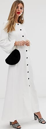 Asos seamed maxi skater dress with contrast buttons-White