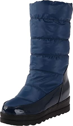 Mediffen Women Slip On Warm Lining Winter Flat Snow Boots Blue Size 39 Asian